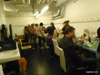 Make-up room at the SkyDance show in Zurich Hallenstadion