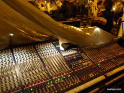 A mixing console covered from the rain