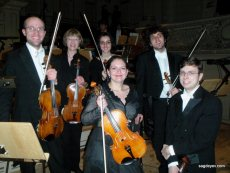The viola section of the Symphonisches Orchester Zurich after the concert